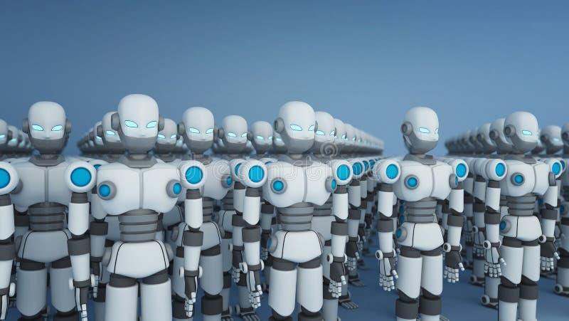 小组在白色,人工智能的机器人在未来派 皇族释放例证