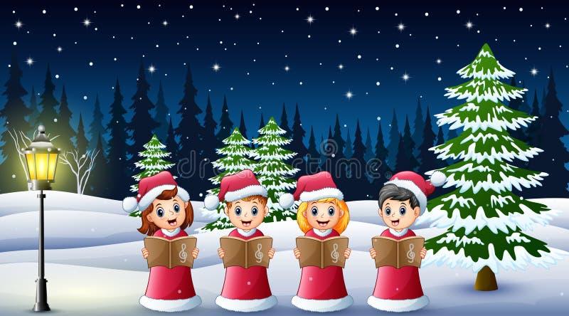 小组在红色圣诞老人服装唱歌圣诞节颂歌的孩子在冬天背景 库存例证