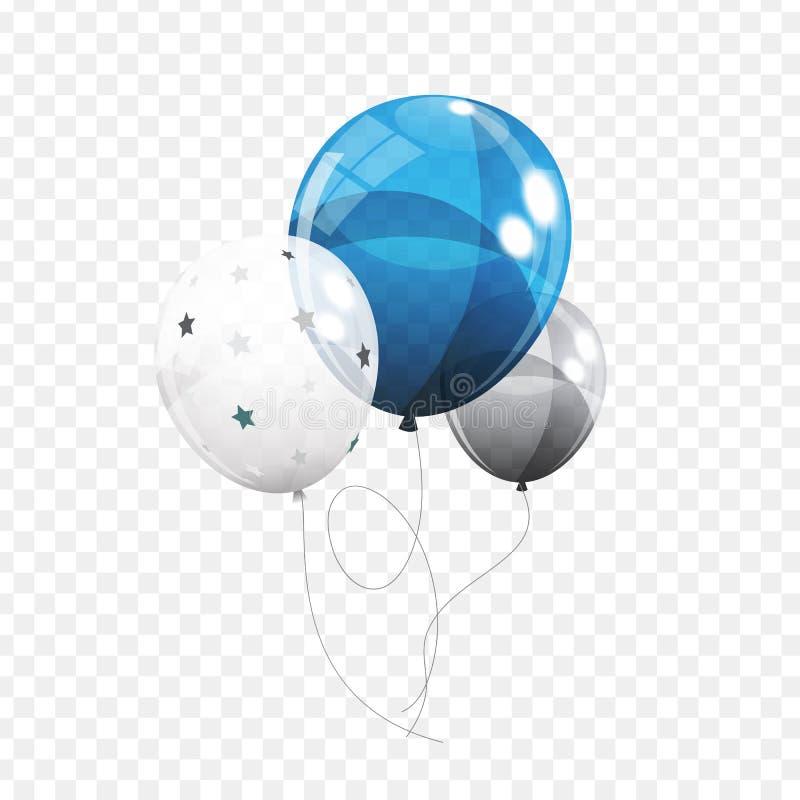 小组在Transperent背景隔绝的颜色光滑的氦气气球 套银,蓝色,白色与Confett 向量例证