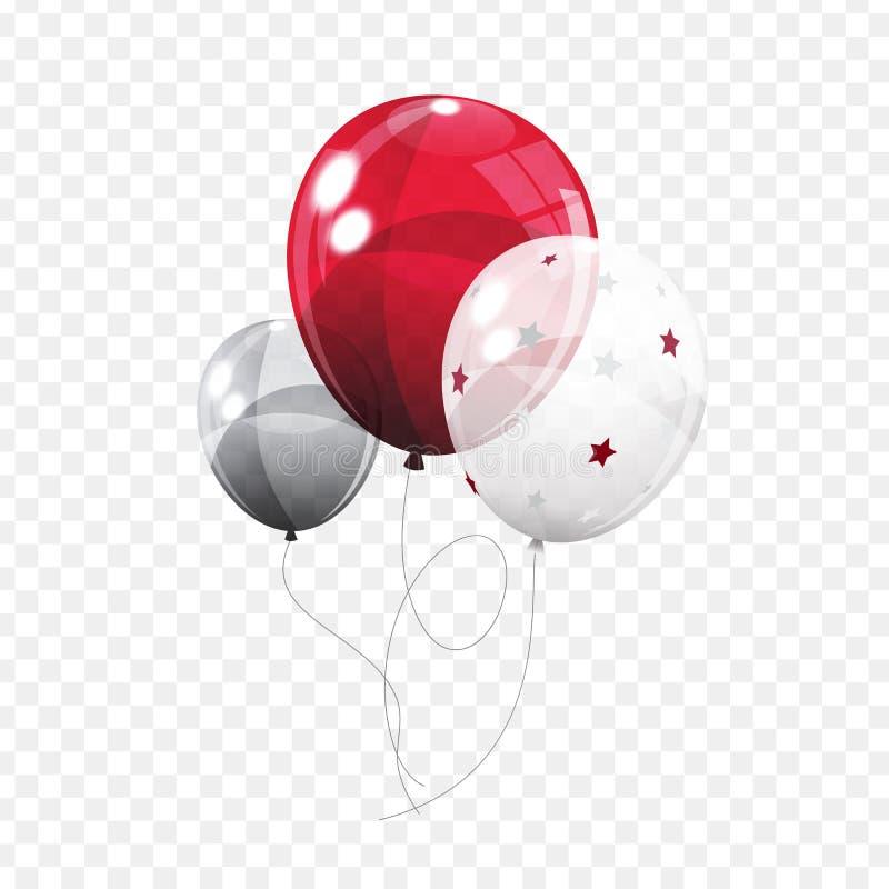 小组在Transperent背景隔绝的颜色光滑的氦气气球 套银,蓝色,白色与Confett 皇族释放例证