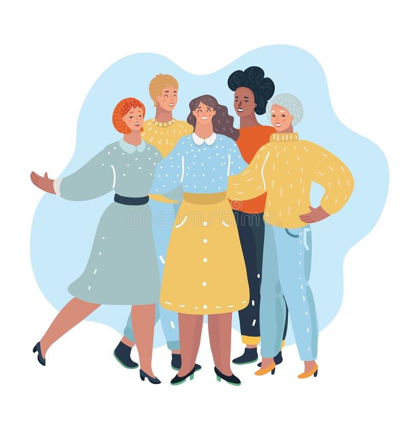 小组妇女朋友例证 库存例证