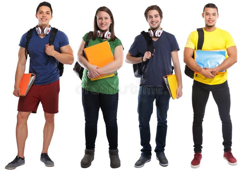 小组学生学习在白色隔绝的教育年轻人 免版税库存照片