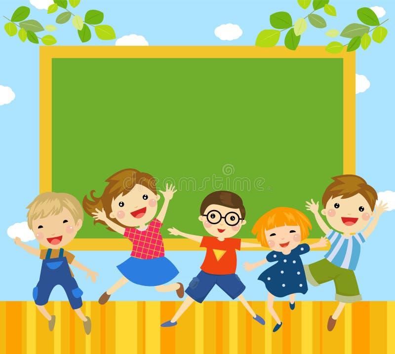 小组孩子和黑板 向量例证