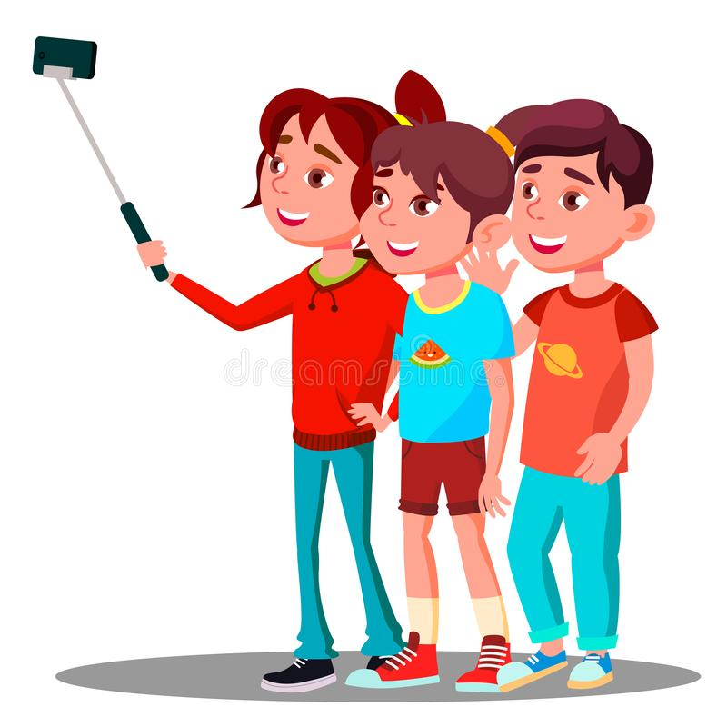小组孩子在手机传染媒介做一张Selfie图片 按钮查出的现有量例证推进s启动妇女 向量例证