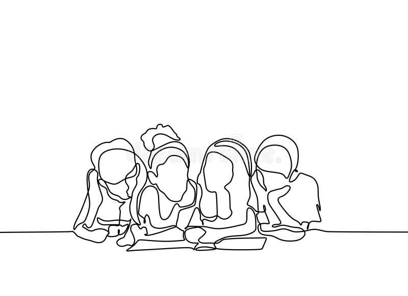 小组孩子读了书连续的一线描 皇族释放例证