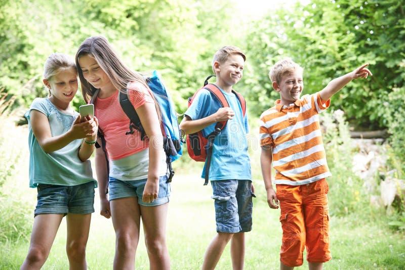 小组孩子Geocaching在森林 免版税库存照片