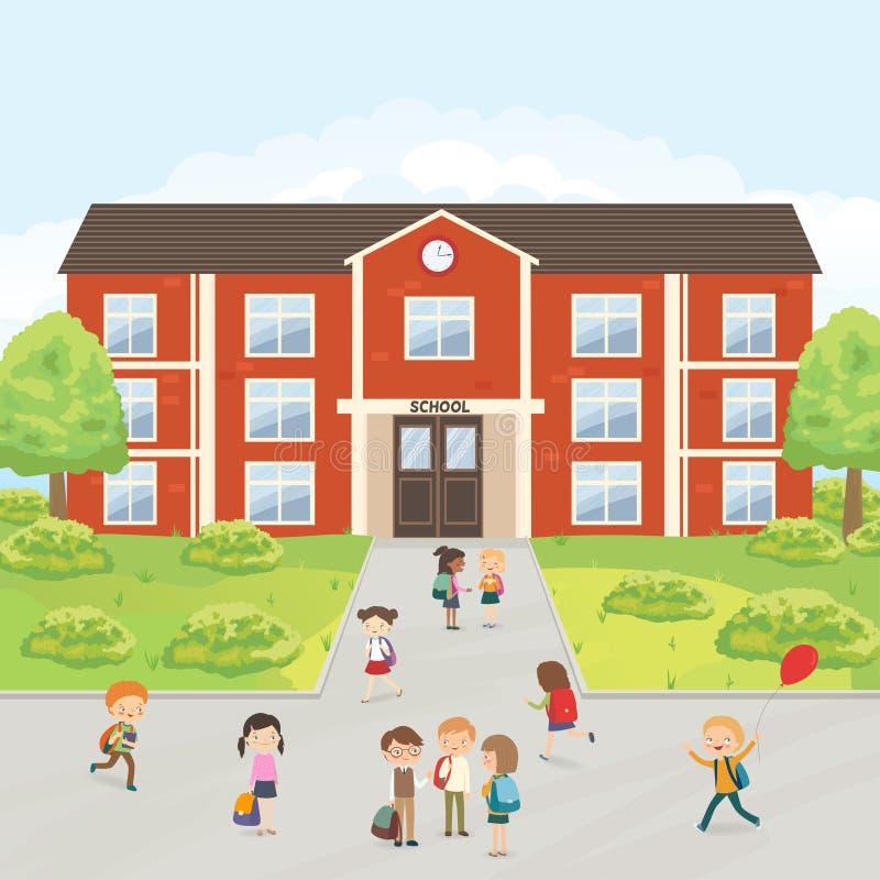 小组小学在校园哄骗 向量例证