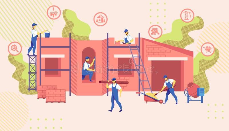 小组工程师修建新的楼房建筑 向量例证