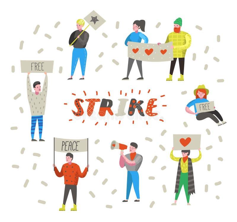 小组平的恼怒的人民抗议在罢工 把栓在反对某事的字符与横幅和招贴 向量例证
