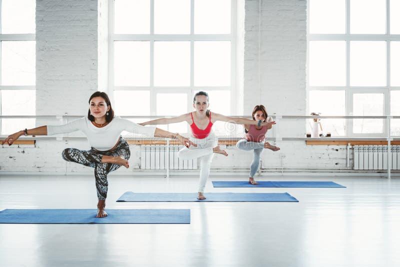 小组年轻亭亭玉立的妇女实践瑜伽锻炼室内类 一起做健身的人们 健康生活方式 免版税库存照片