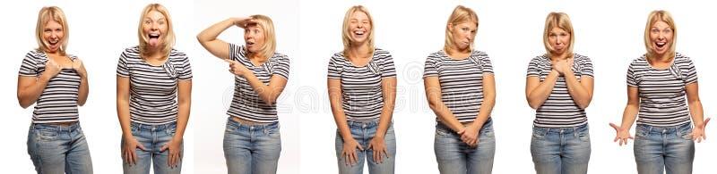 小组年轻女人,白色背景的情感画象 免版税图库摄影