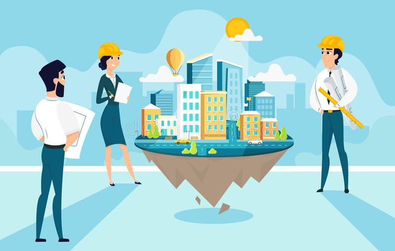 小组建筑师创造和城市工程学项目  漫画人物队工作  向量例证