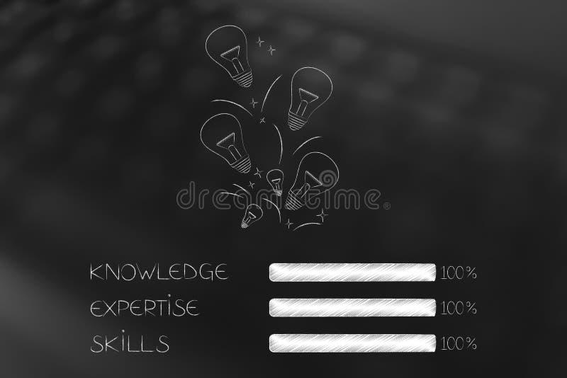 小组想法的电灯泡标志以知识专门技术a 皇族释放例证