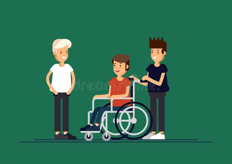 小组愉快的孩子互相沟通和和一起使用 关心对残疾儿童概念 库存例证