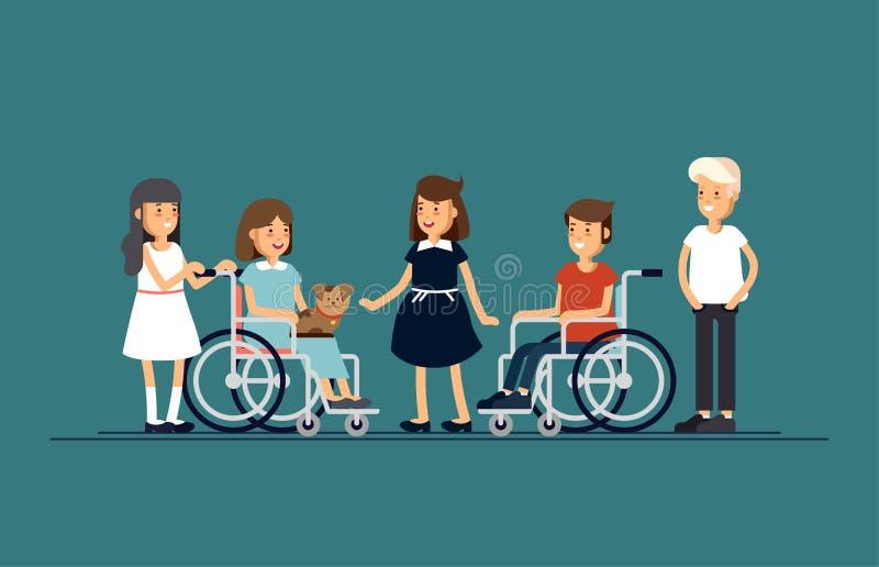 小组愉快的孩子互相沟通和和一起使用 关心对残疾儿童概念 向量例证