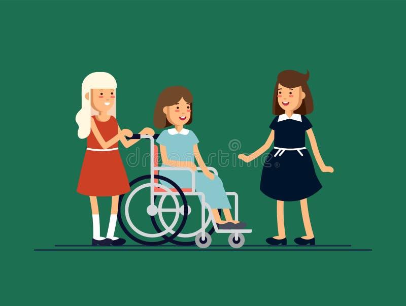 小组愉快的孩子互相沟通和和一起使用 关心对残疾儿童概念 皇族释放例证