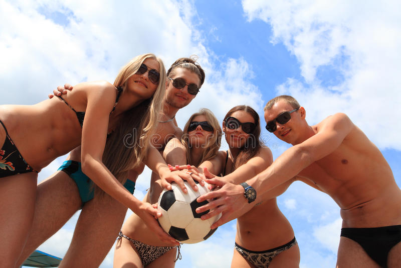小组排球 免版税库存图片