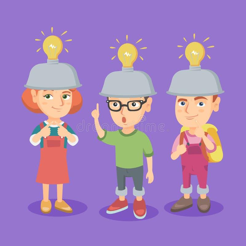 小组有想法电灯泡的白种人孩子 库存例证