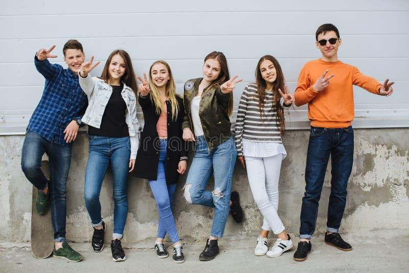 小组有滑板的微笑的少年 免版税图库摄影