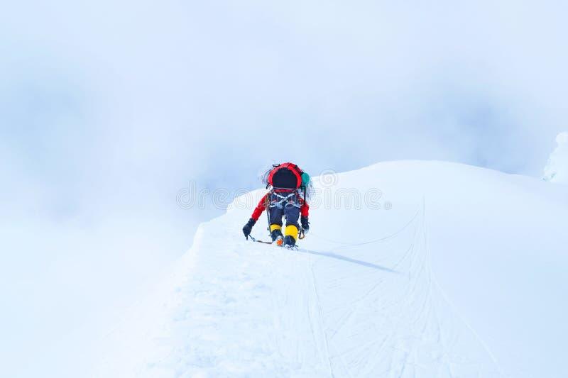 小组有背包的登山人到达山峰珠穆琅玛成功、自由和幸福,成就山顶  库存图片