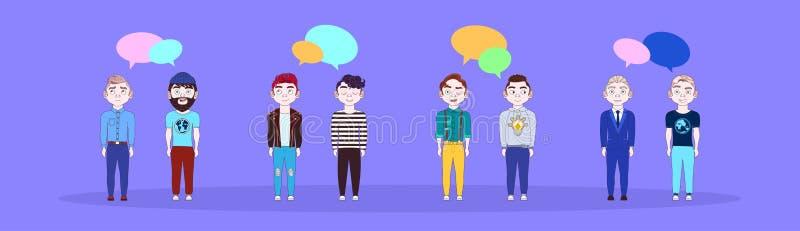 小组有闲谈的年轻人起泡社会媒介通信概念水平的横幅 向量例证