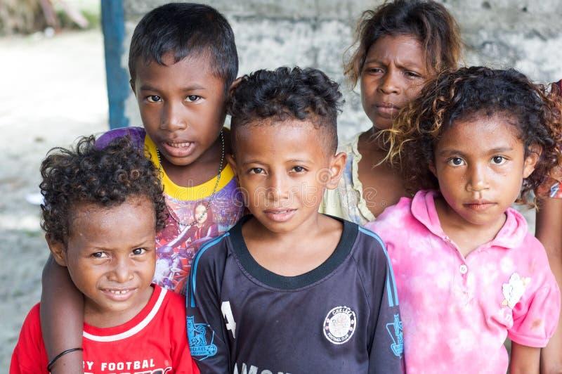 小组未认出的土产孩子 免版税库存图片