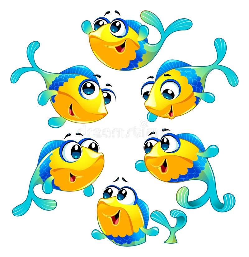 小组滑稽和愉快的鱼 向量例证