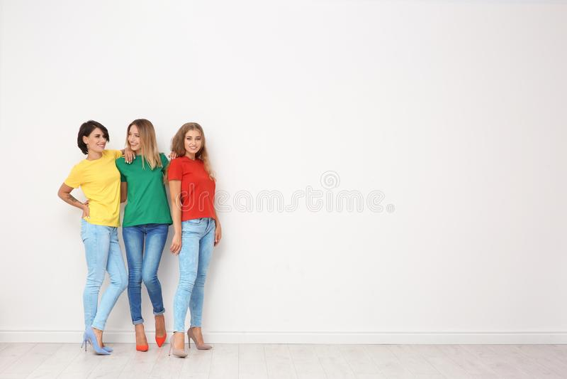 小组牛仔裤和五颜六色的T恤杉的少妇 图库摄影