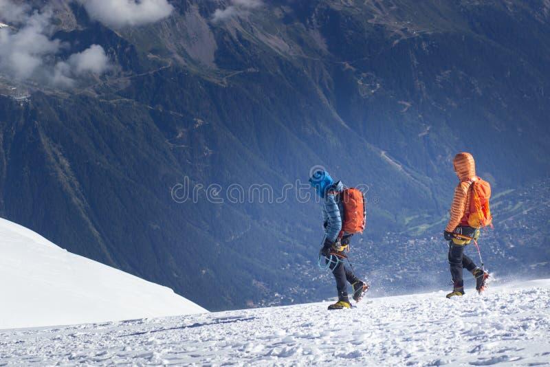小组登山人到达山峰上面  上升和登山体育 配合概念 免版税库存照片