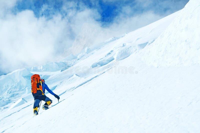 小组登山人到达山峰山顶  成功, 库存照片