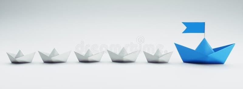小组白色和蓝纸小船- 3D例证 库存例证