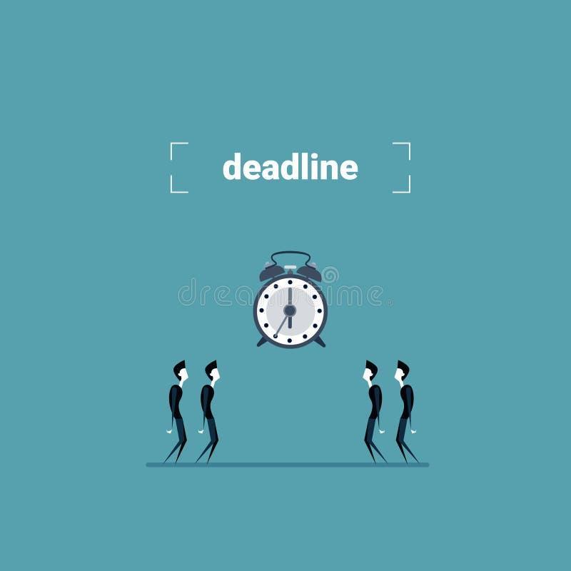 小组看时钟时间最后期限概念的商人 皇族释放例证