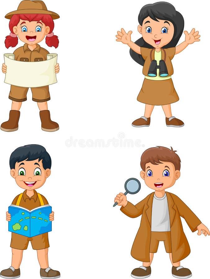 小组穿探险家服装的动画片愉快的孩子 库存例证