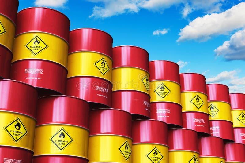 小组红色堆积了油桶反对与云彩的蓝天 库存例证