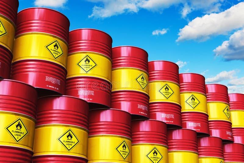 小组红色堆积了油桶反对与云彩的蓝天 向量例证
