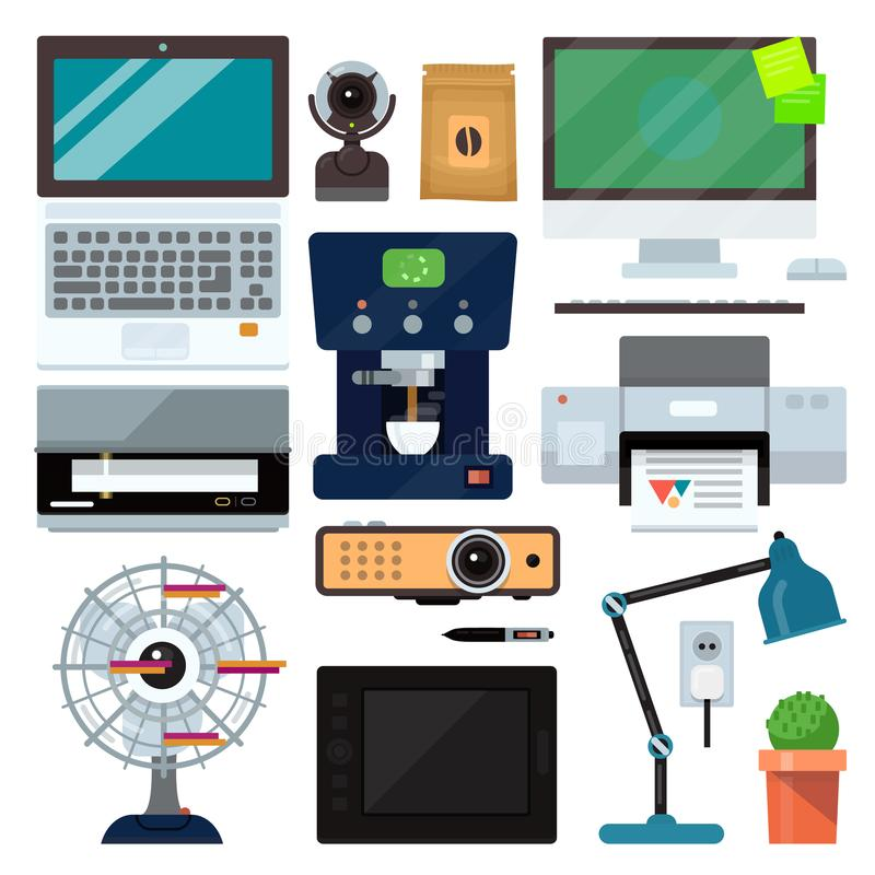 小组计算机办公设备 膝上型计算机,显示器,片剂个人计算机,智能手机,打印机键盘,照片照相机,老鼠 办公室 皇族释放例证