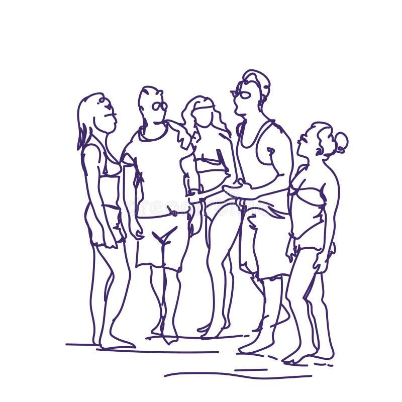 小组谈话剪影的人一起站立乱画男人和妇女朋友通信 库存例证