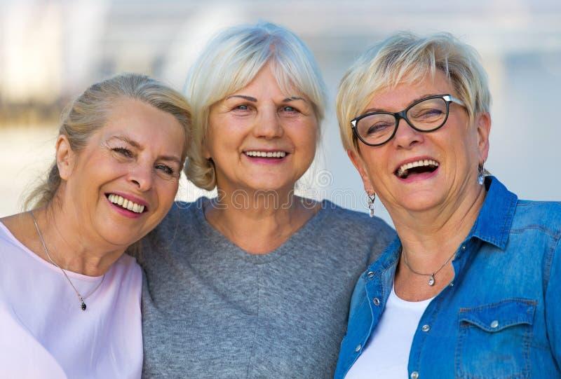 小组资深妇女微笑 免版税图库摄影