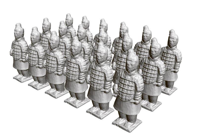 小组赤土陶器战士 古老赤土陶器战士雕塑  3d E r 皇族释放例证