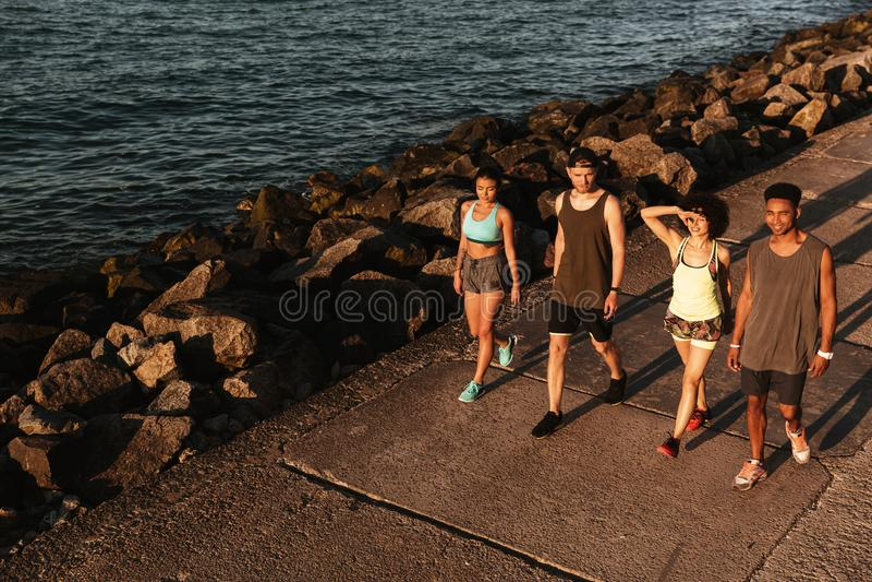 小组走在码头的健身人顶视图  免版税库存照片