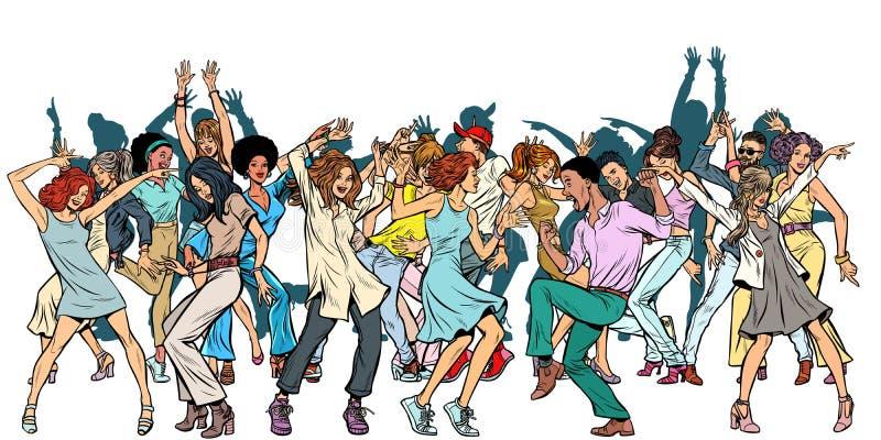 小组跳舞青年时期,在白色背景的孤立 库存例证