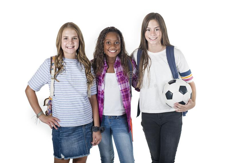 小组逗人喜爱的不同的少年学校学生 免版税库存照片