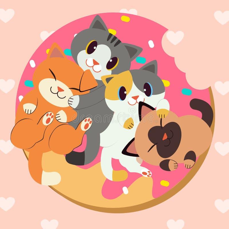 小组逗人喜爱的猫美味的多福饼 向量例证