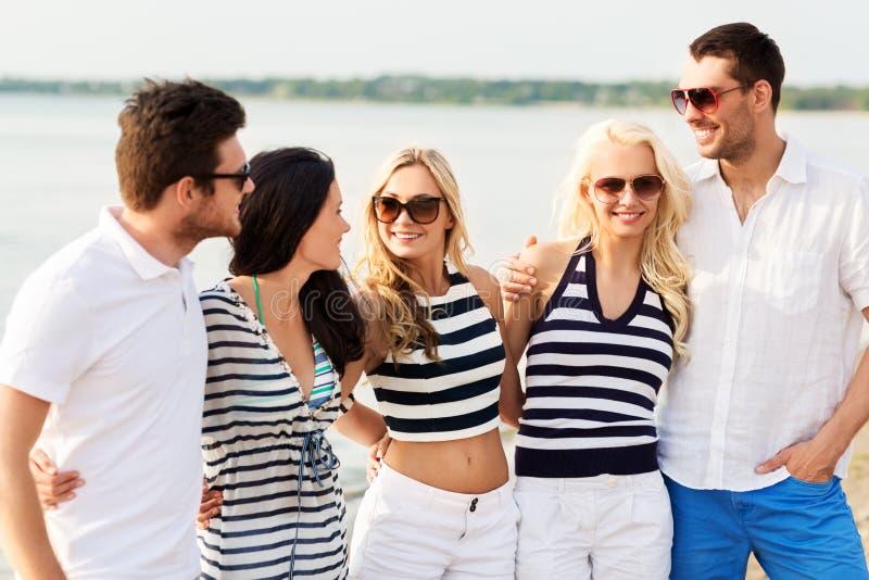 小组镶边衣裳的愉快的朋友在海滩 免版税库存照片