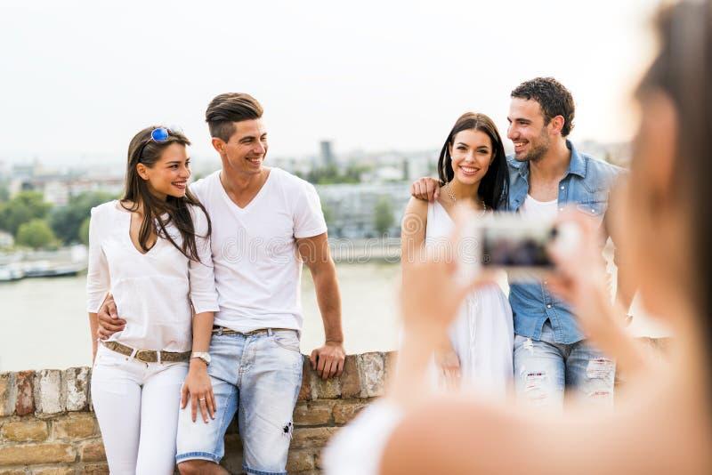 小组青年人被拍摄 图库摄影