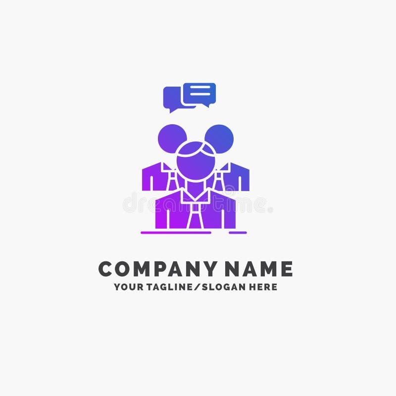 小组,事务,会议,人们,队紫色企业商标模板 r 库存例证