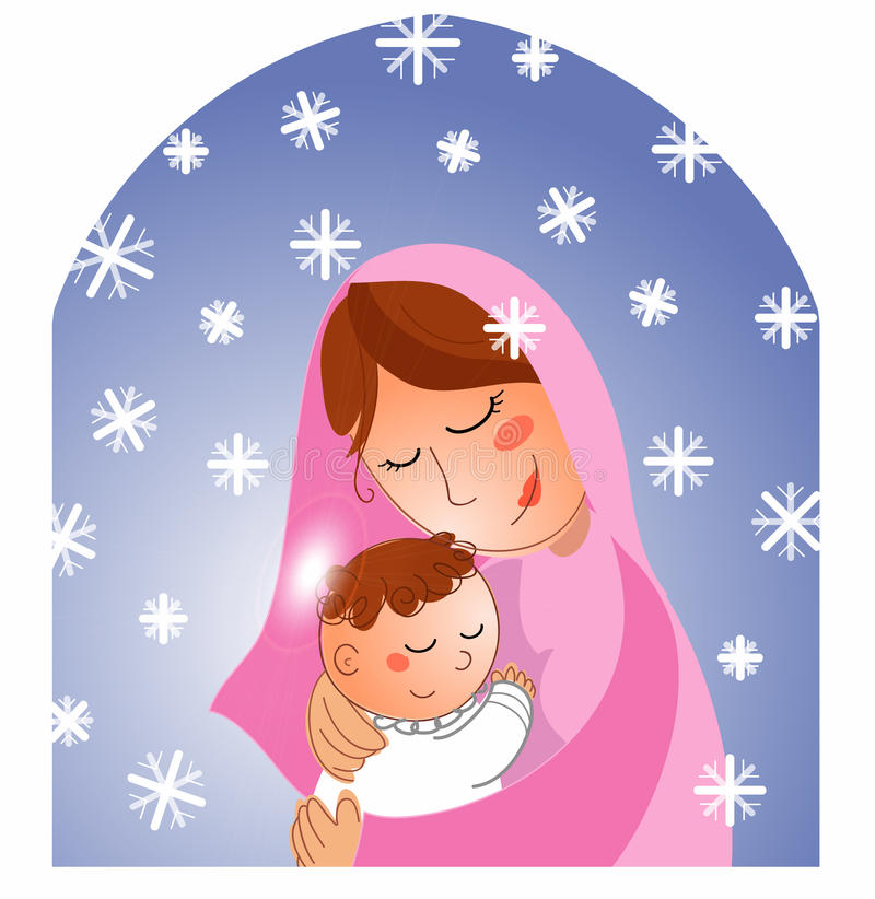 小耶稣・玛丽诞生 皇族释放例证