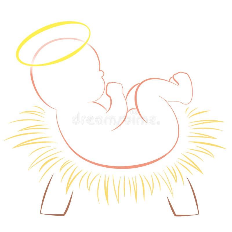小耶稣圣诞节小儿床白色 向量例证
