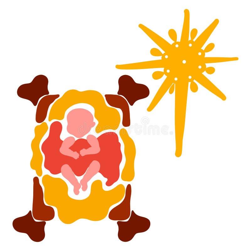 小耶稣在面纱和发光的圣诞节星,五颜六色的剪影下的饲槽 向量例证