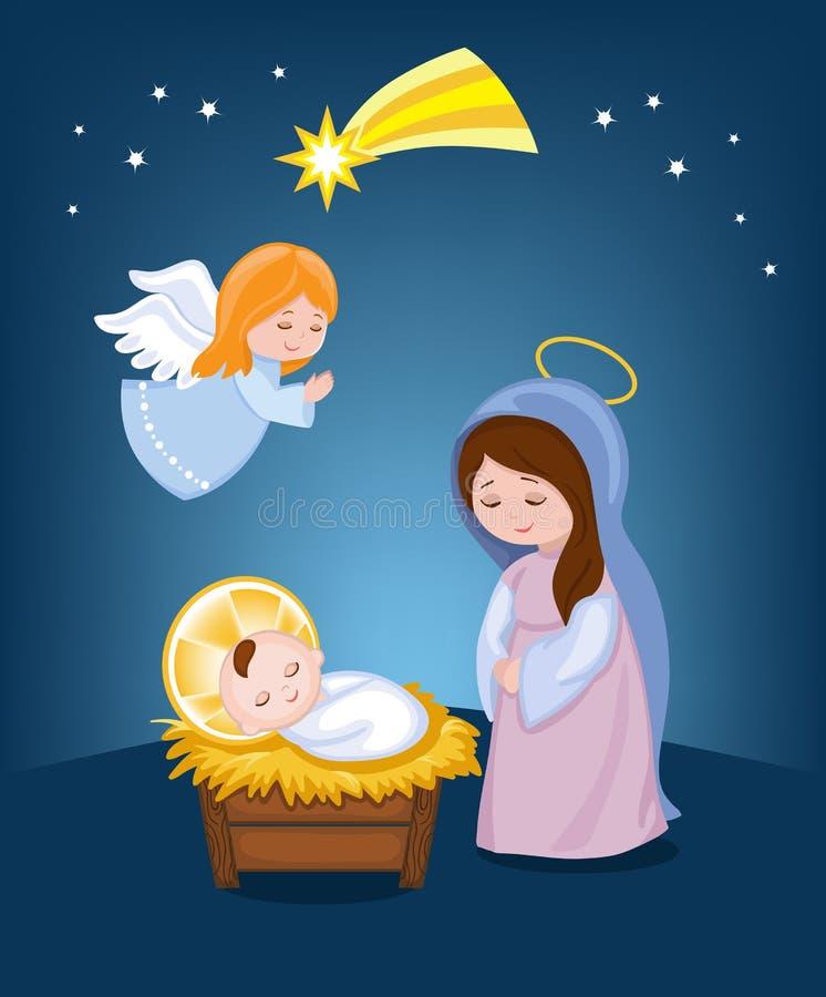 小耶稣・玛丽贞女 圣诞节 向量例证